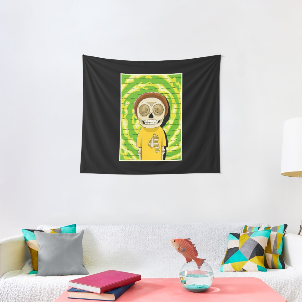 morty  rick and morty skull Tapestry