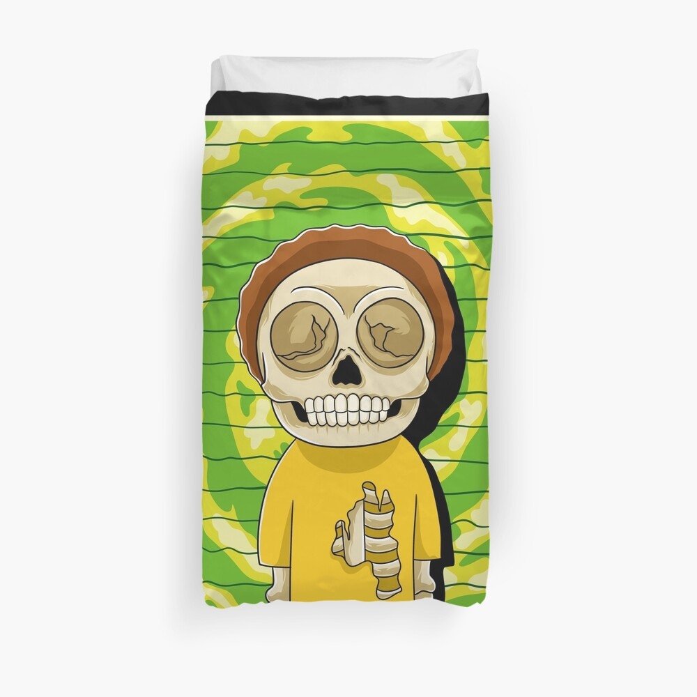 morty  rick and morty skull Duvet Cover