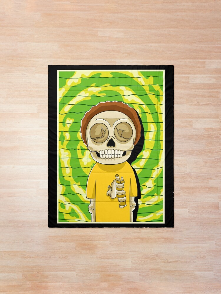 Alternate view of morty  rick and morty skull Comforter