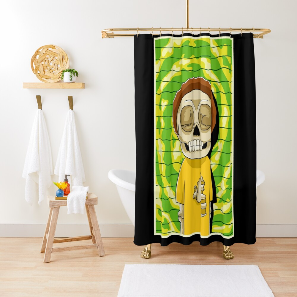 morty  rick and morty skull Shower Curtain