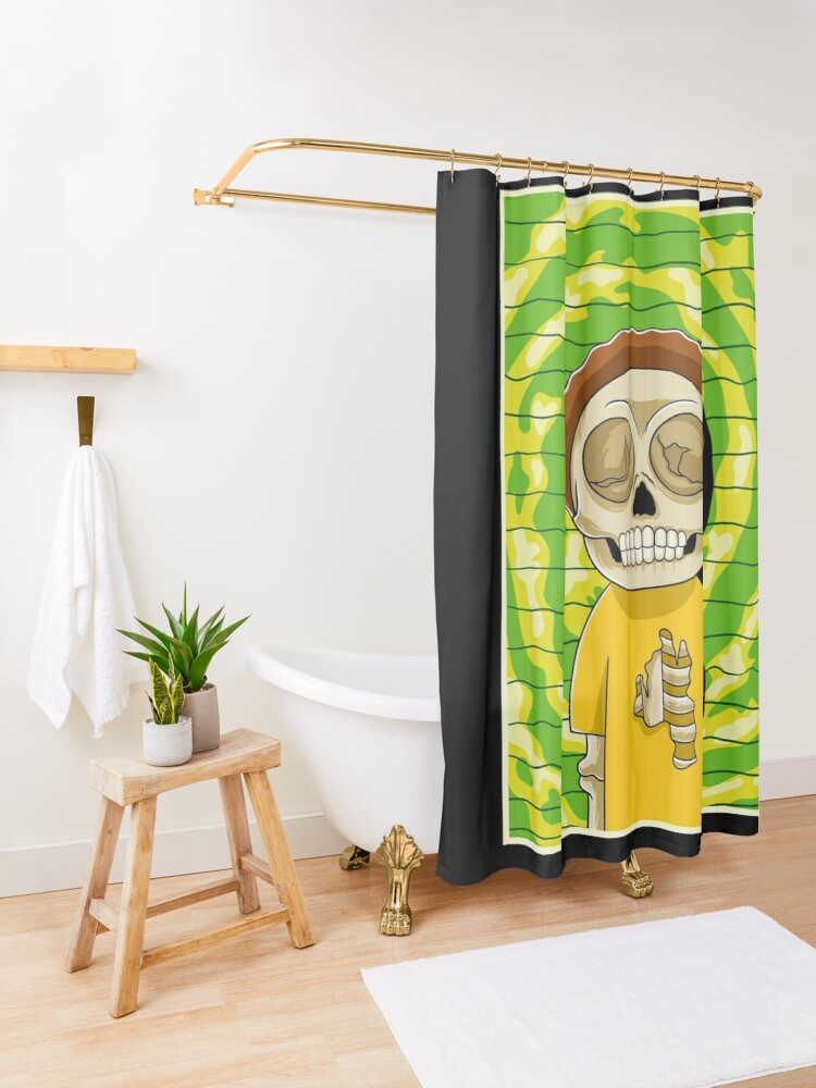 Alternate view of morty  rick and morty skull Shower Curtain