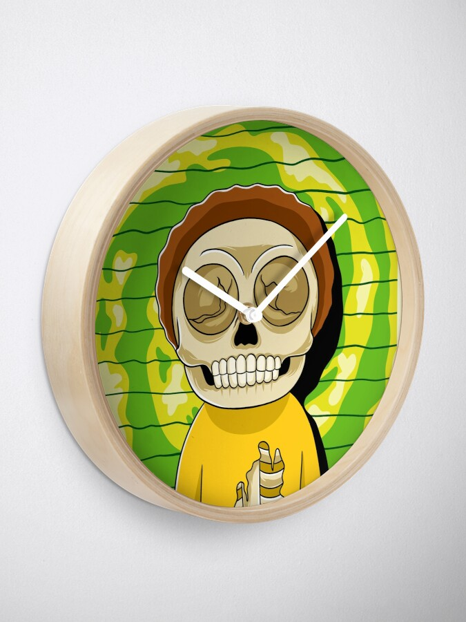 Alternate view of morty  rick and morty skull Clock