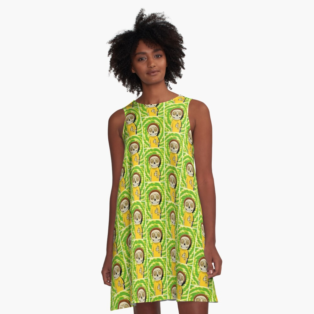 morty  rick and morty skull A-Line Dress