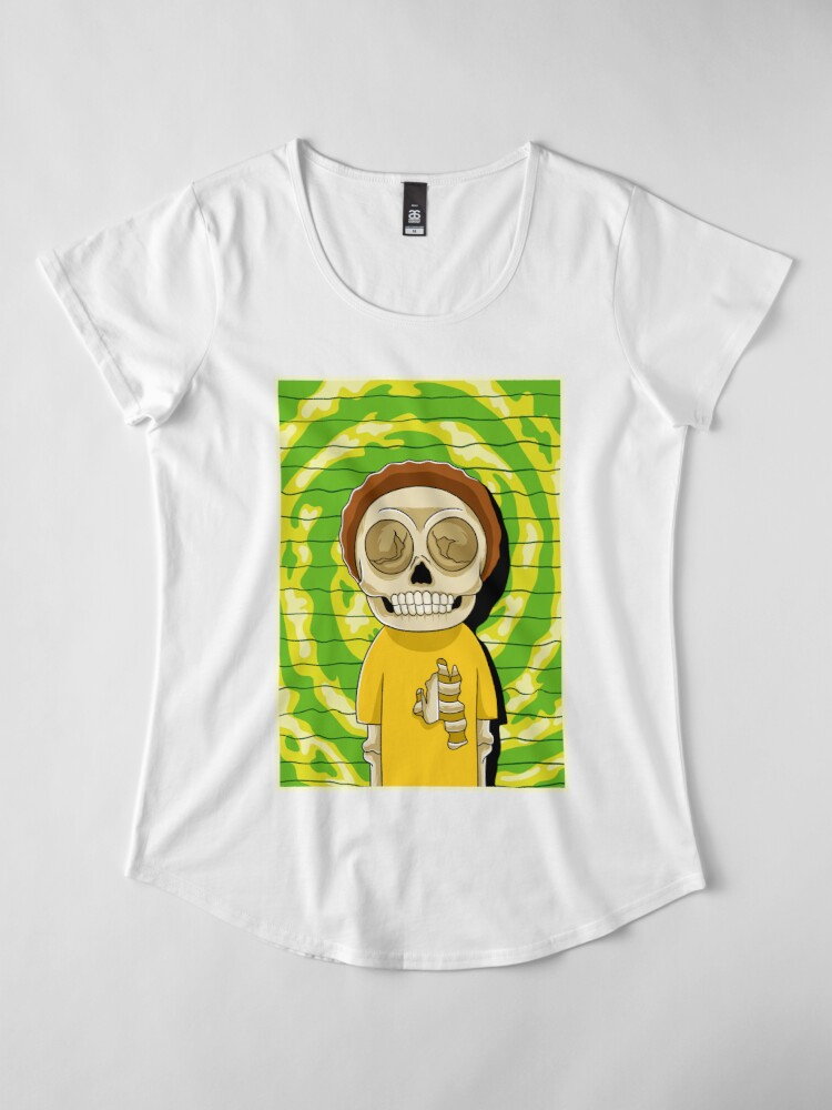Alternate view of morty  rick and morty skull Premium Scoop T-Shirt