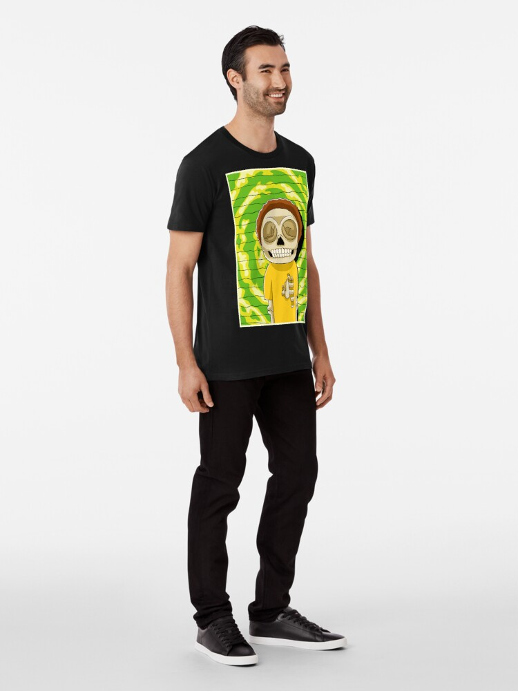 Alternate view of morty  rick and morty skull Premium T-Shirt