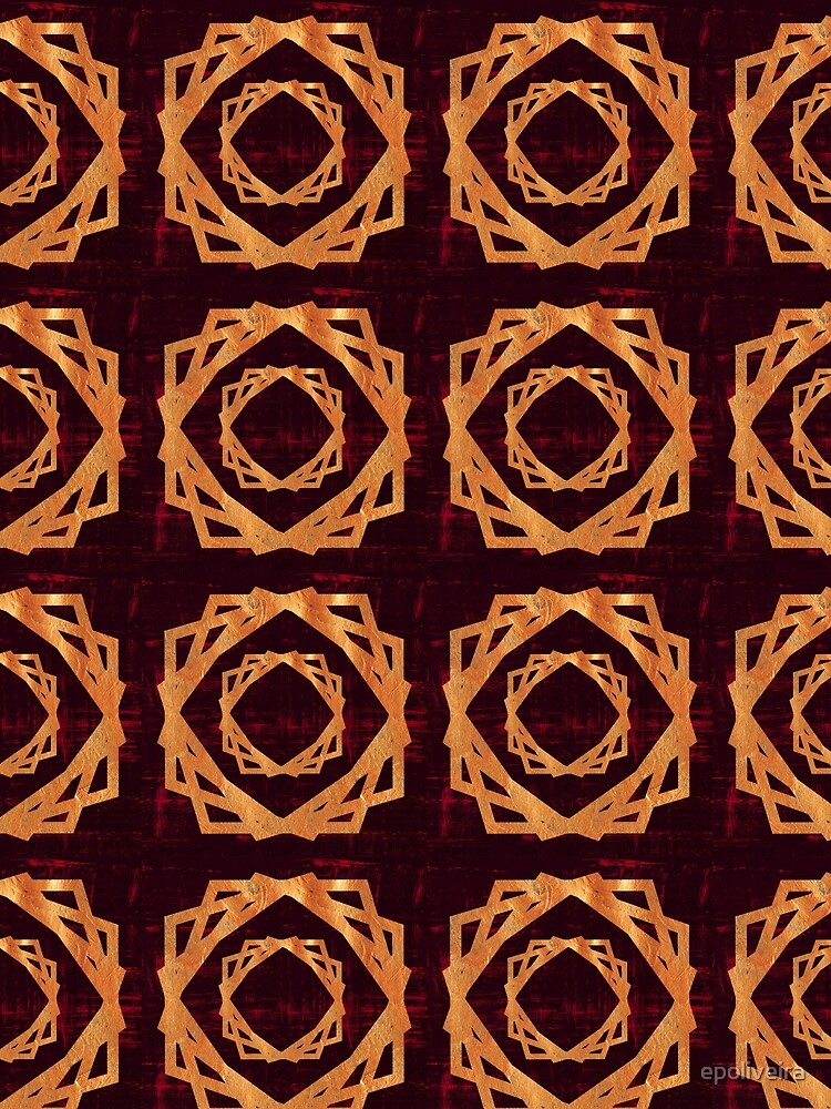 Golden Roses in Red Background | Elegant Pattern by epoliveira