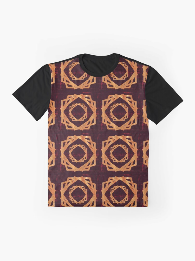 Alternate view of Golden Roses in Red Background | Elegant Pattern Graphic T-Shirt