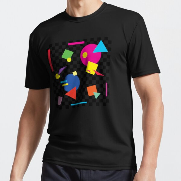 Retro Classic 1980s Shapes On Black and White Check - Retro Shapes #1 Active T-Shirt