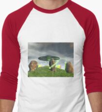 UFO and Ancient Stone Circle Men's Baseball ¾ T-Shirt