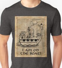 Boat Expedition,Ship Excursion,Music Crew,Vintage Ink Dictionary Art T-Shirt