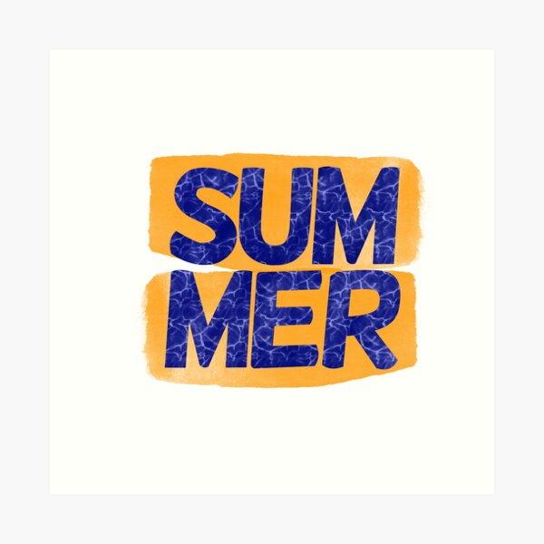 The word Summer in blue with an orange background. Art Print