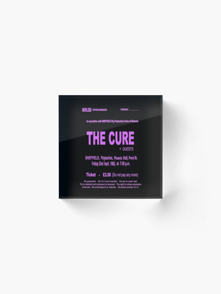 Alternate view of The Cure 1982 Retro UK Sheffield Gig Ticket - Long Pink Print. Acrylic Block