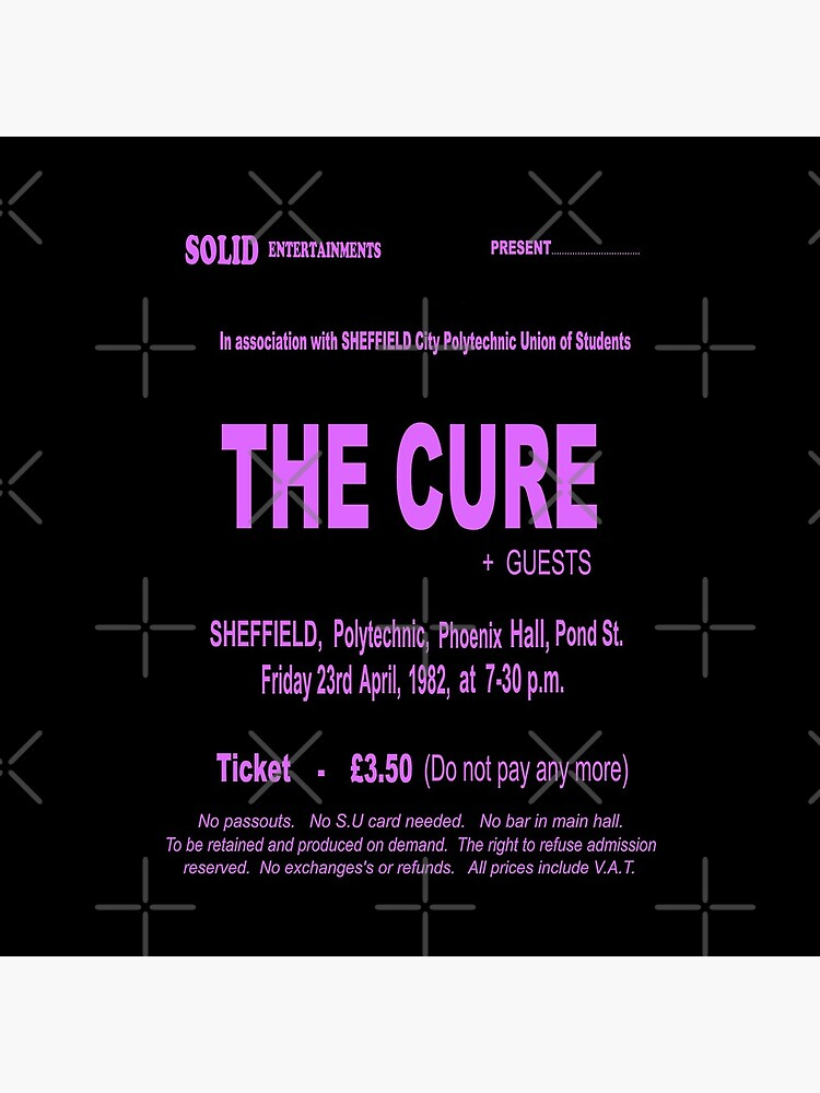 The Cure 1982 Retro UK Sheffield Gig Ticket - Long Pink Print. by TMcG-Prints