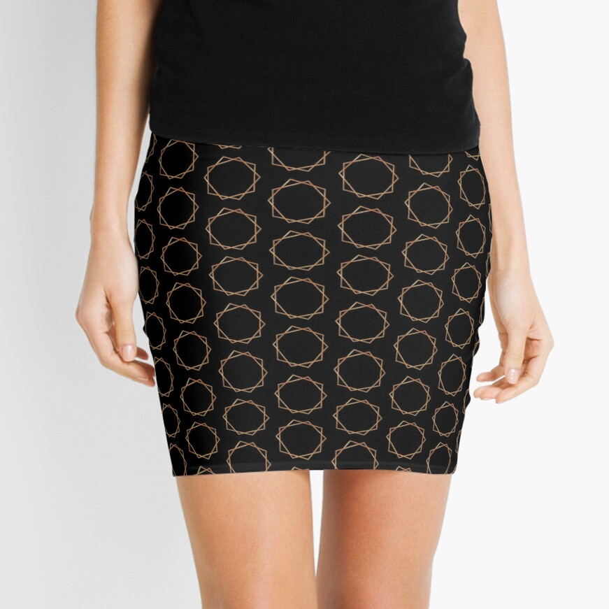Golden Geometric Pattern Mini Skirt