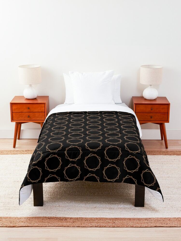 Alternate view of Golden Geometric Pattern Comforter