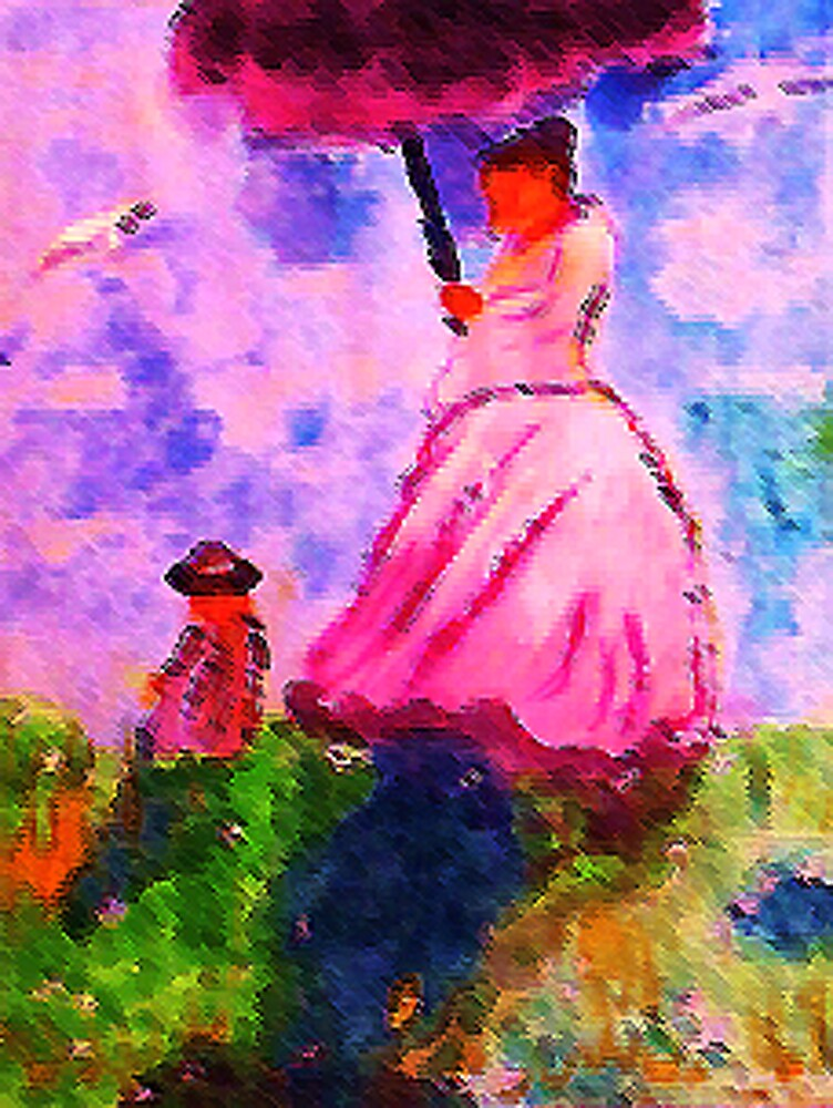 Windy day for a walk on hill, watercolor by Anna  Lewis, blind artist
