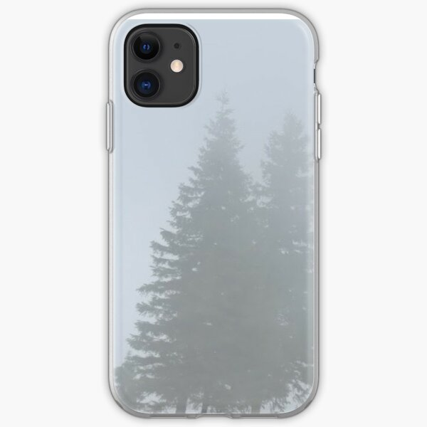 lonely trees in the morning mist iPhone Soft Case