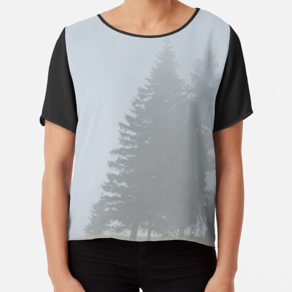 lonely trees in the morning mist Chiffon Top