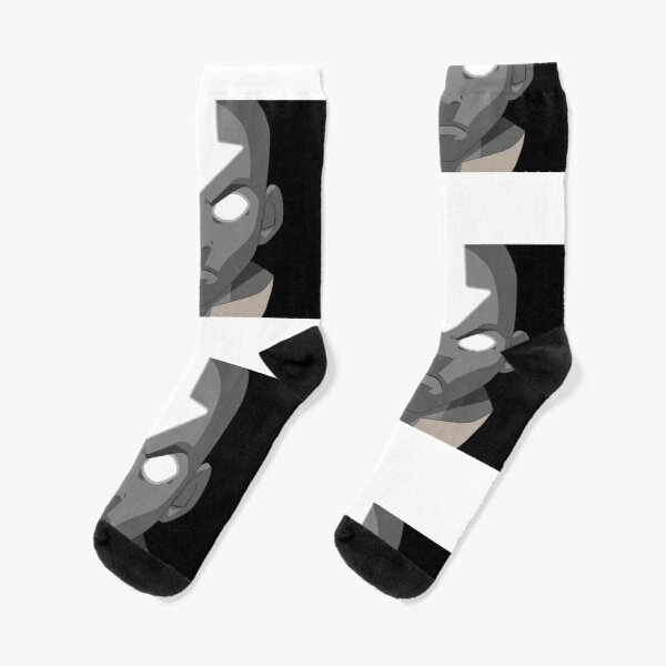 Aang Avatar State Black and White Socks