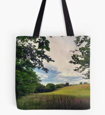 Framed View Across the Fields from Groudle Glen Tote Bag
