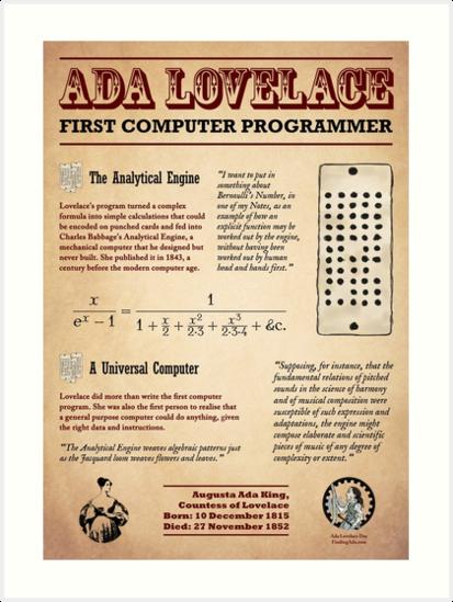 'Ada Lovelace: First Computer Programmer' Art Print by AdaLovelaceDay