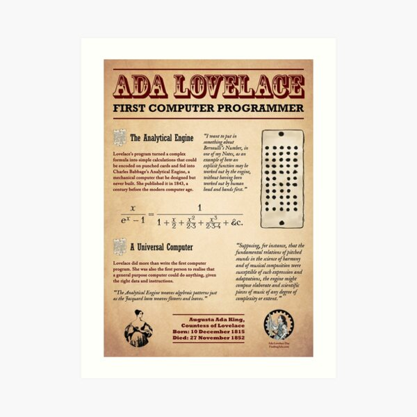 Ada Lovelace: First Computer Programmer Art Print
