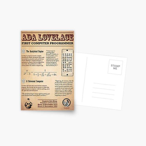 Ada Lovelace: First Computer Programmer Postcard