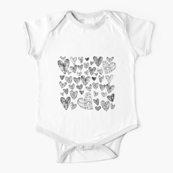 Wire Hearts Pattern Short Sleeve Baby One-Piece