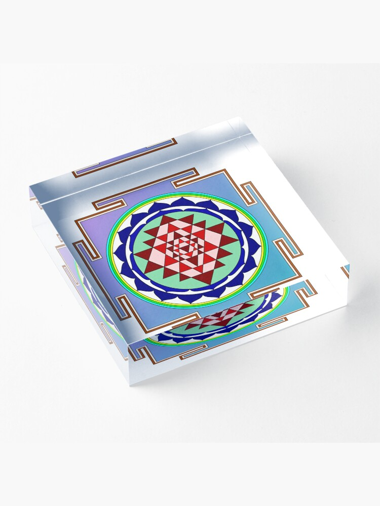 Alternate view of The Sri Yantra is a form of mystical diagram, known as a yantra, found in the Shri Vidya school of Hindu tantra. Acrylic Block
