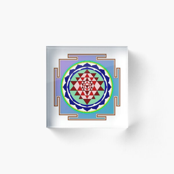 The Sri Yantra is a form of mystical diagram, known as a yantra, found in the Shri Vidya school of Hindu tantra. Acrylic Block