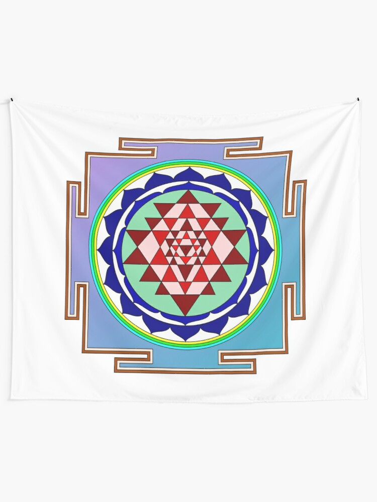 Alternate view of The Sri Yantra is a form of mystical diagram, known as a yantra, found in the Shri Vidya school of Hindu tantra. Tapestry