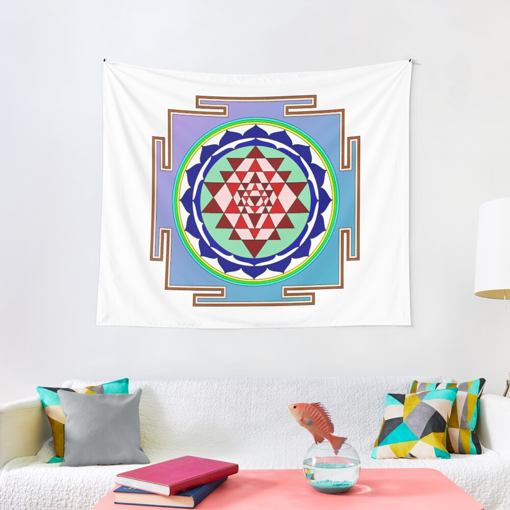 The Sri Yantra is a form of mystical diagram, known as a yantra, found in the Shri Vidya school of Hindu tantra. Tapestry