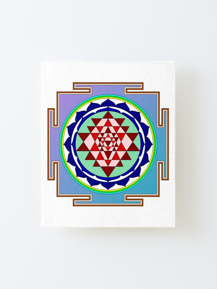 Alternate view of The Sri Yantra is a form of mystical diagram, known as a yantra, found in the Shri Vidya school of Hindu tantra. Mounted Print