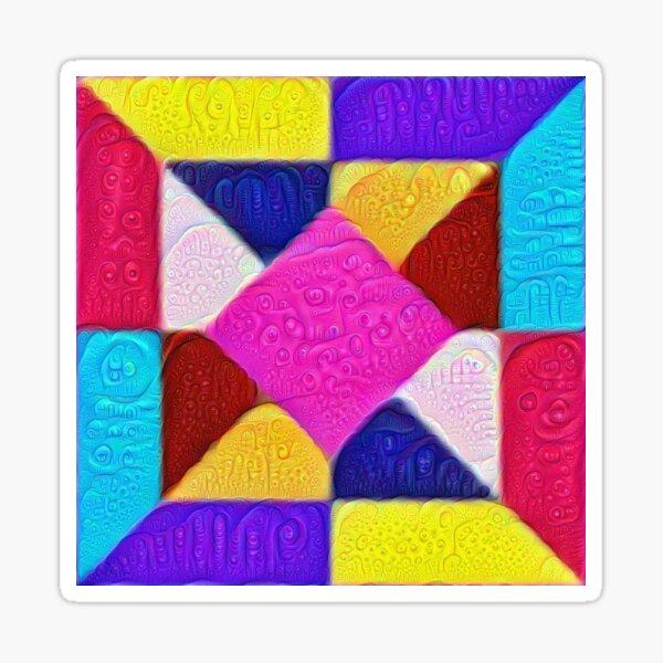 DeepDream Color Squares Visual Areas 5x5K v1447942584 Sticker