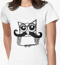 Moustache Owl Womens Fitted T-Shirt