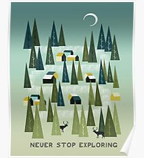 Never Stop Exploring - Quote Art Poster
