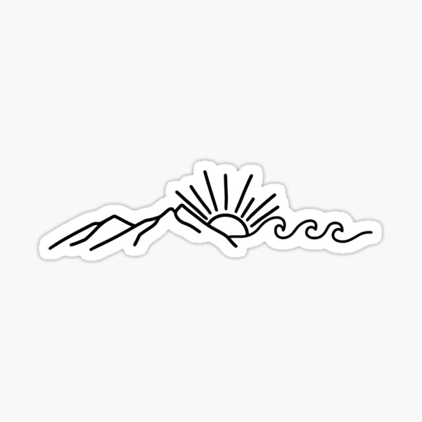 Mountain and Wave Sticker