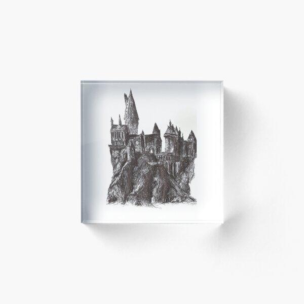 Mythical Castle in pen Acrylic Block