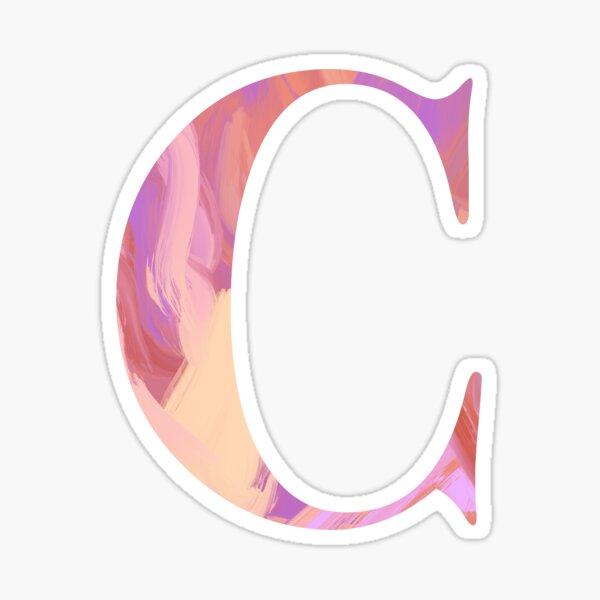 Letter C Monogram Sticker Blush and Purple Acrylic Paint Sticker