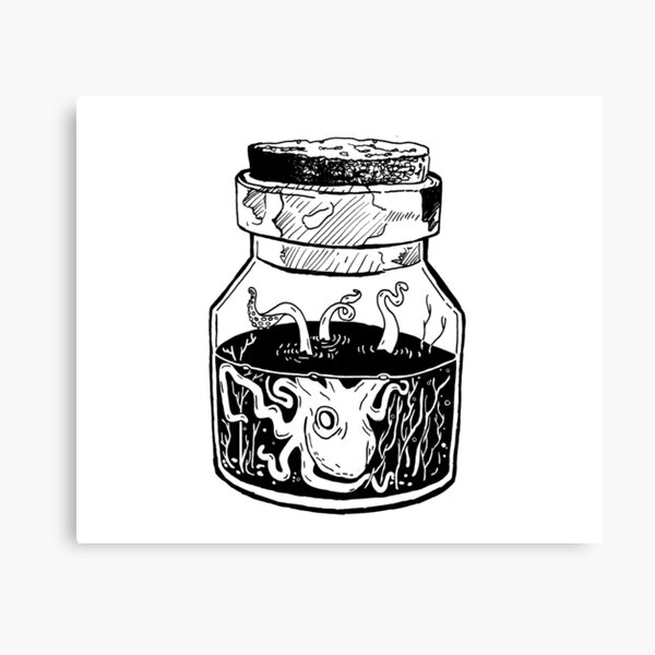 Kraken In A Jar Canvas Print