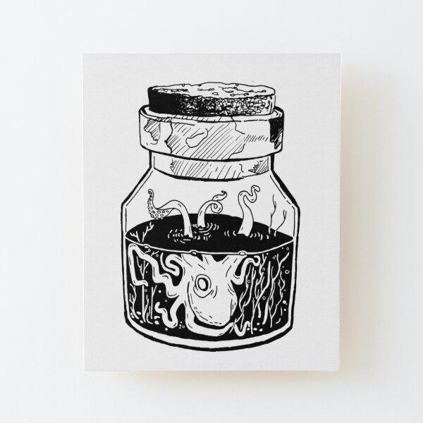 Kraken In A Jar Wood Mounted Print
