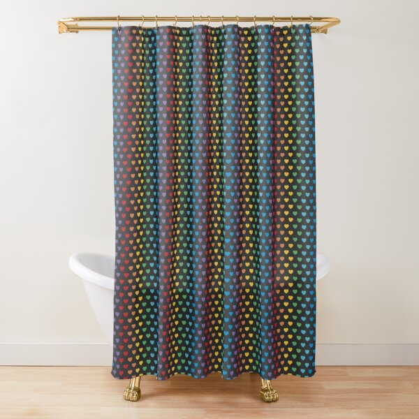 Rainbow Hearts | Bright on Black Shower Curtain