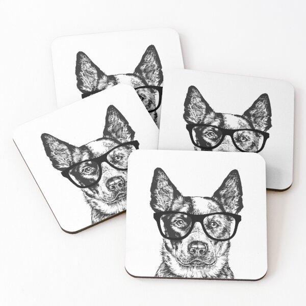 Hipster Heeler Dog Line Drawing Coasters (Set of 4)