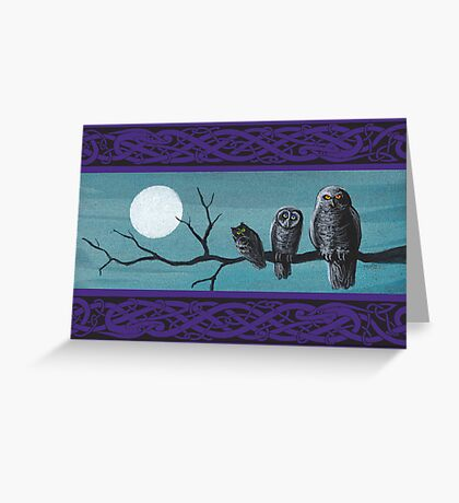 Spooky Halloween Owls Greeting Card
