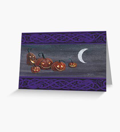 Jack-o-lanterns at Halloween. Greeting Card