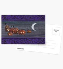 Jack-o-lanterns at Halloween. Postcards