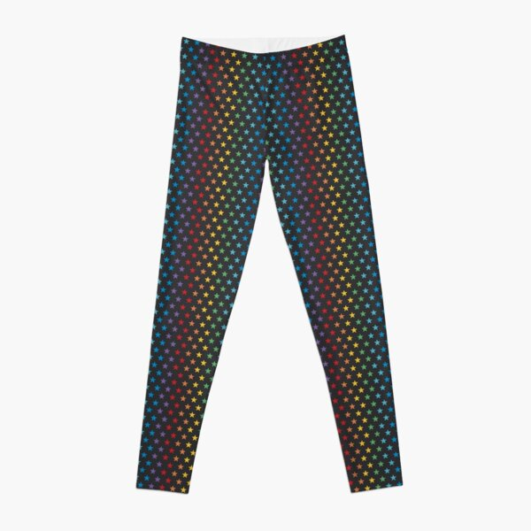 Rainbow Stars | Bright on Black Leggings