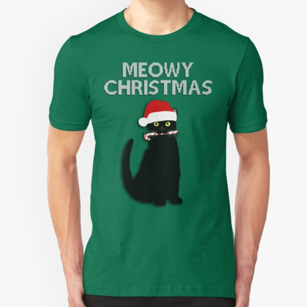 Meowy Christmas Slim Fit T-Shirt