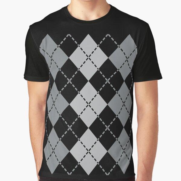 Grey Argyle Design Graphic T-Shirt