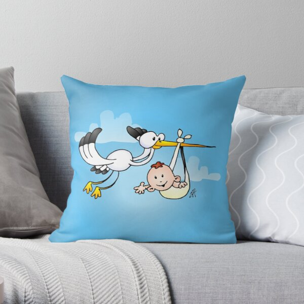 Stork with baby Throw Pillow